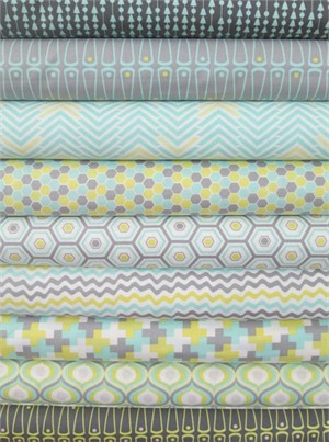 Camelot Cottons, Penelope, Aqua in FAT QUARTERS 6 Total