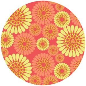 Camelot Cottons, Petite Plume, Blooms Coral