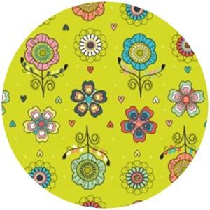 Camelot Cottons, Petite Plume, Floral Chartreuse