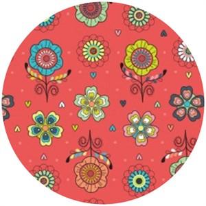 Camelot Cottons, Petite Plume, Floral Coral