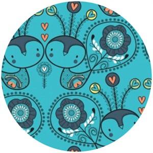 Camelot Cottons, Petite Plume, Love Birds Blue