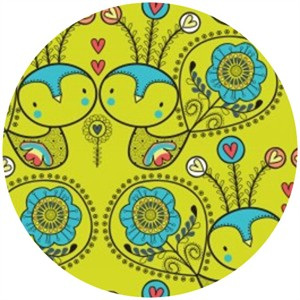 Camelot Cottons, Petite Plume, Love Birds Chartreuse