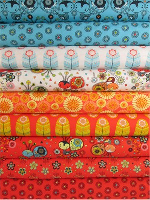 Camelot Cottons, Petite Plume, Coral/Blue in FAT QUARTERS 7 Total