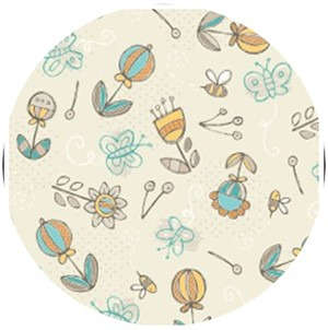 Camelot Cottons, Playground, Picking Flowers Cream