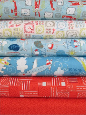 Camelot Cottons, Take Flight, Breeze in FAT QUARTERS 6 Total
