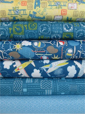 Camelot Cottons, Take Flight, Dark Blue in FAT QUARTERS 6 Total