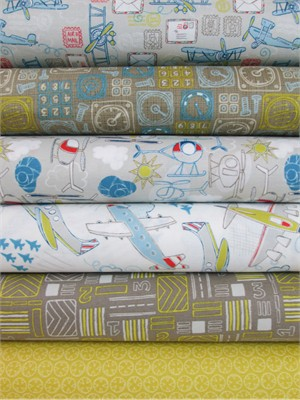 Camelot Cottons, Take Flight, Sunny in FAT QUARTERS 6 Total