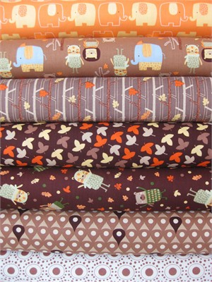 Camelot Cottons, Woodland Adventure, Brown in FAT QUARTERS, 6 Total
