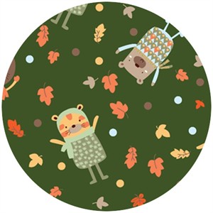 Camelot Cottons, Woodland Adventure, Fall Playtime Green