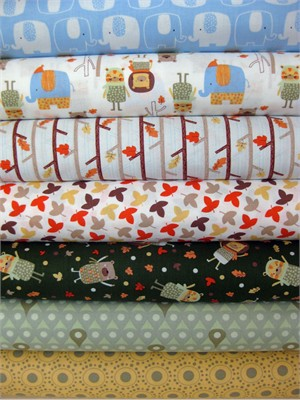 Camelot Cottons, Woodland Adventure, Natural in FAT QUARTERS, 7 Total