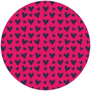 Camelot Fabrics, Baby Dino, Hearts Bright Pink