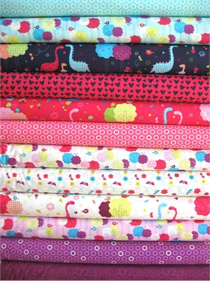 Camelot Fabrics, Baby Dino in FAT QUARTERS, 12 Total
