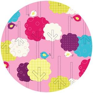 Camelot Fabrics, Baby Dino, Trees Pink