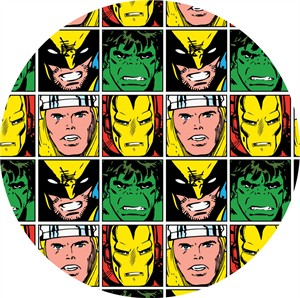 Camelot Fabrics, Marvel Comics, Faces in Blocks Multi