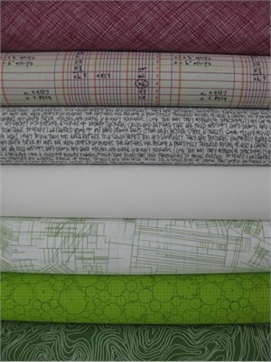 Carolyn Friedlander, Architextures, Plum/Grass in FAT QUARTERS, 7 Total