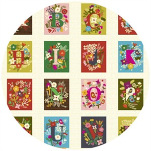Carolyn Gavin, Petite Fleur, Alphabet Panel Multi (24 Inch Panel)