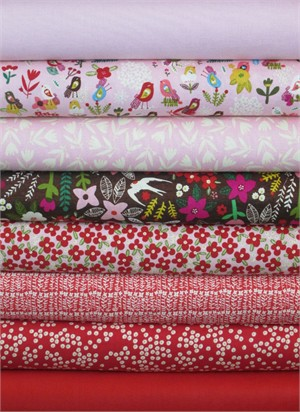 Carolyn Gavin, Petite Fleur, Blush/Red in FAT QUARTERS 8 Total (PRE-CUT)