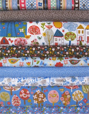 Carolyn Gavin, Village Green, Blue in FAT QUARTERS 9 Total