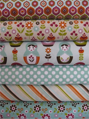 Carly Griffith, Little Matroyshka, Aqua in FAT QUARTERS, 6 Total (LAST BUNDLE)