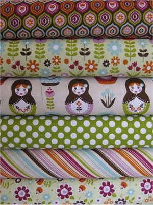 Carly Griffith, Little Matroyshka, Green in FAT QUARTERS, 6 Total