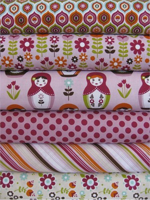 Carly Griffith, Little Matroyshka, Purple in FAT QUARTERS, 6 Total