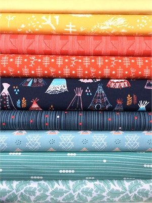 Fabricworm Custom Bundle, Campfire in FAT QUARTERS 9 Total (PRE-CUT)