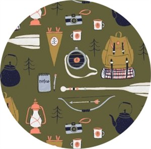 Rae Ritchie for Dear Stella, Trail Mix, Camping Supplies Forest