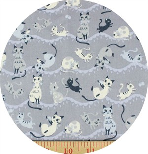 Japanese Import, CANVAS, Purring Playmates Periwinkle