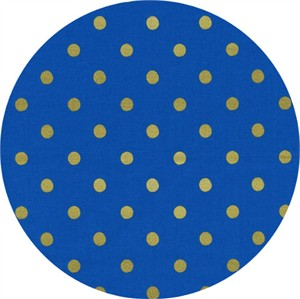 Rifle Paper Co. for Cotton and Steel, Wonderland, Caterpillar Dots Cobalt Metallic