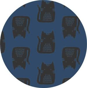 Sarah Golden for Andover, Maker Maker LINEN, Cats Blue