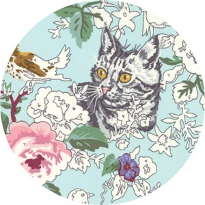 Erin Michael for Moda Fabrics, Meow or Never, Check Meowt Robins Egg