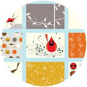 Charley Harper for Birch Fabrics Organic, Cardinal Patch