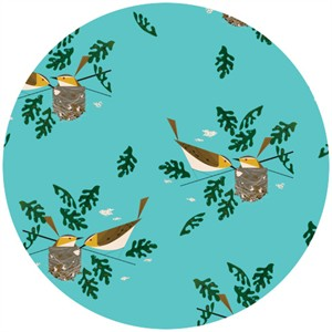 Charley Harper for Birch Fabrics Organic, Red Eye Vireo