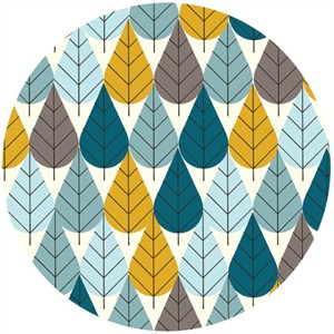 Charley Harper for Birch Fabrics Organic, FLANNEL, Octoberama Blue