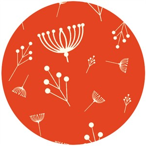 Charley Harper for Birch Fabrics Organic, FLANNEL, Twigs Tomato