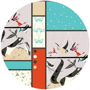 Charley Harper for Birch Fabrics Organic, CANVAS, Feeding Station