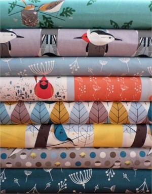 Charley Harper for Birch Fabrics Organic, Blue 8 Total