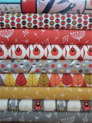 Charley Harper for Birch Fabrics Organic, Fall in FAT QUARTERS 9 Total