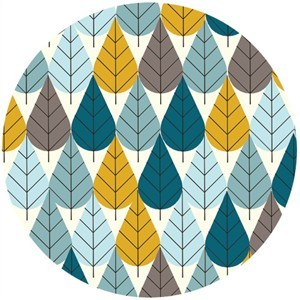 Charley Harper for Birch Fabrics Organic, KNIT, Octoberama Blue