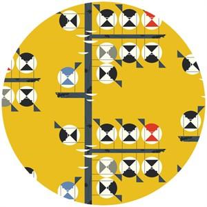Charley Harper for Birch Fabrics Organic, Nurture, Family of Chickadees