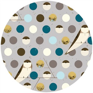 Charley Harper for Birch Fabrics Organic, Bank Swallow Blue