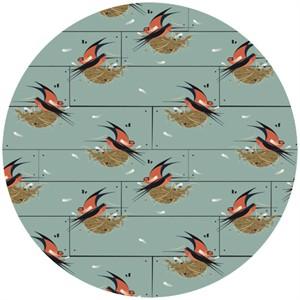 Charley Harper for Birch Fabrics Organic, Nurture, KNIT, Barn Swallow