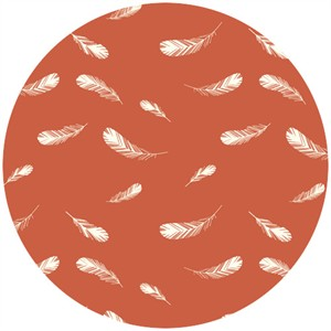 Charley Harper for Birch Fabrics Organic, Nurture, KNIT, Feathers Coral