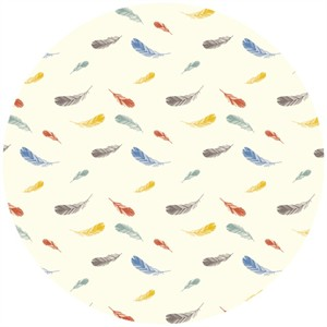 Charley Harper for Birch Fabrics Organic, Nurture, KNIT, Feathers Cream