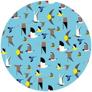 Charley Harper for Birch Organic Fabrics, Maritime, DOUBLE GAUZE, Maritime Birds Multi