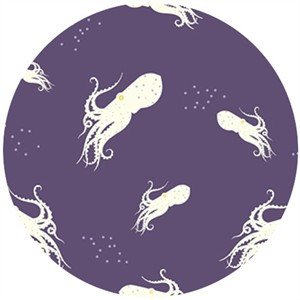 Charley Harper for Birch Organic Fabrics, Maritime, DOUBLE GAUZE, Octo School Purple