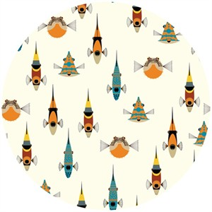 Charley Harper for Birch Organic Fabrics, Maritime, DOUBLE GAUZE, Tropical Fish
