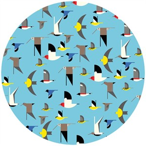 Charley Harper for Birch Organic Fabrics, Maritime, CANVAS, Maritime Birds Multi