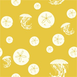 Charley Harper for Birch Organic Fabrics, Maritime, CANVAS, Sand Dollar and Jelly Yellow