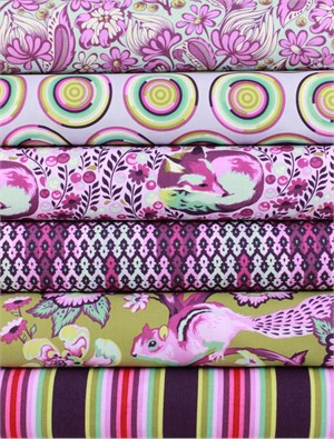 Tula Pink for Free Spirit, Chipper, Raspberry in FAT QUARTERS 6 Total